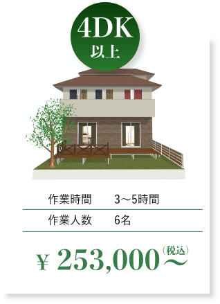 4dk以上 3~5時間 作業人数6名 税込253,000円~